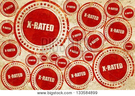 Xrated sign isolated, red stamp on a grunge paper texture