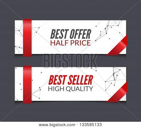 Vector set of promotional market sale banners. Best offer, best seller.