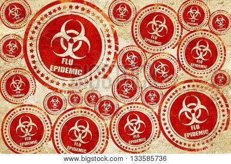 Flu virus concept background, red stamp on a grunge paper textur
