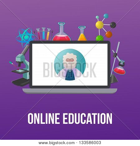 Chemistry lab poster or flyer with scientist teacher on screen and tools for experiments vector illustration
