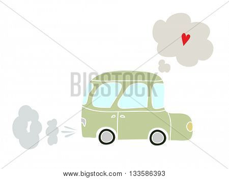 Cartoon of a small car with heart in a thought bubble