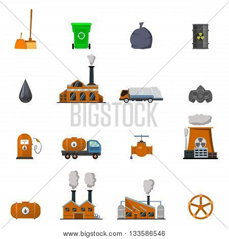 Environmental pollution icon set buildings and structures affecting environmental situation vector illustration