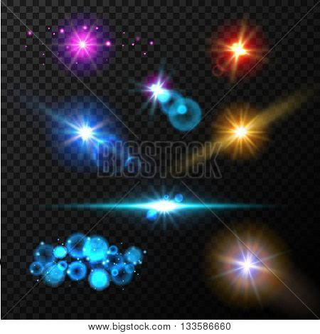 Realistic glow light effects. Lens flare set. Realistic glowing sparkles particles effects on dark transparent grid.