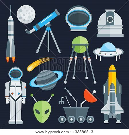 Space decorative flat icons set with astronaut alien satellites rocket  saturn on blue background isolated vector illustration
