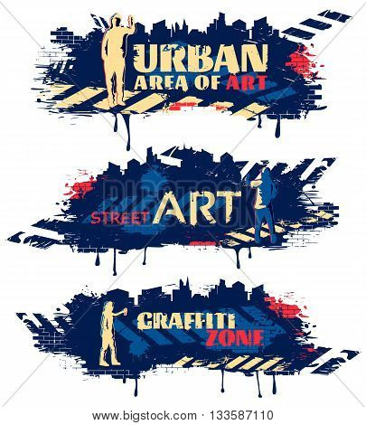 Street art horizontal banners with silhouettes of painters crosswalks spots on dark blue background isolated vector illustration