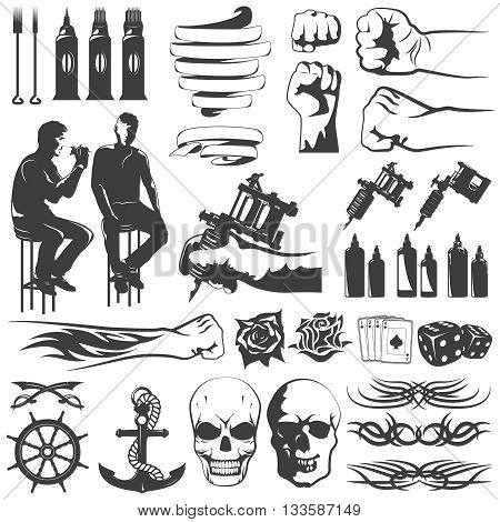 Tattoo black white icons set with flourishes swords dyes tools spirals master anchor skull isolated vector illustration