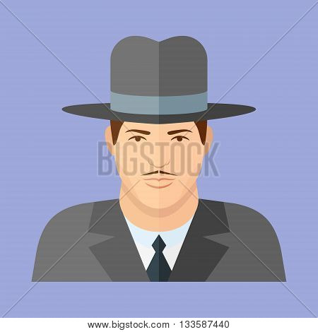 Gangster character. Man face flat icon. Vector illustration.