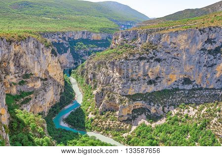 View of deep Verdon gorge. Provence. France.