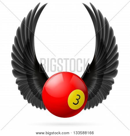 Black wings with red billiard ball on the white background