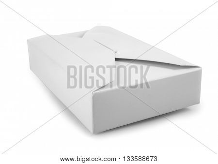 Closed blank carton box isolated on white with clipping path