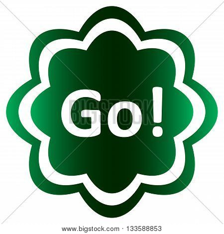Green icon with an inscription exclamation of go