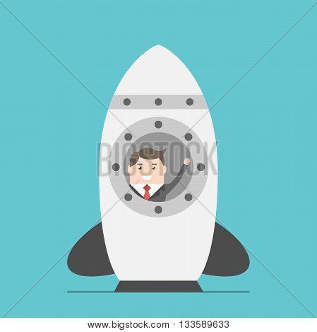 Businessman In Space Rocket