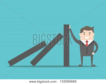 Successful strong confident businessman stopping domino effect. Business problem solution crisis and risk concept. EPS 8 vector illustration no transparency