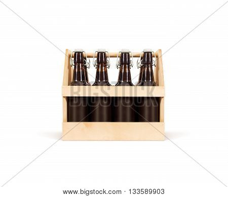 Beer wooden box mock up isolated. Blank wood cold beer packaging stand.