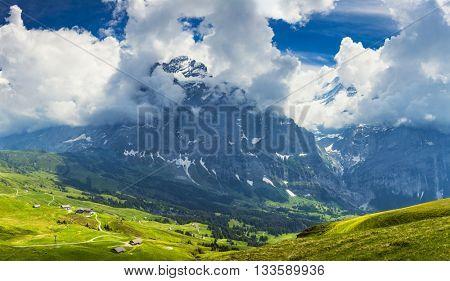 Panoramic View On Switzerland Mountain Landscape, Swiss alp, SwitzerlandInterlaken - Lauterbrunnen