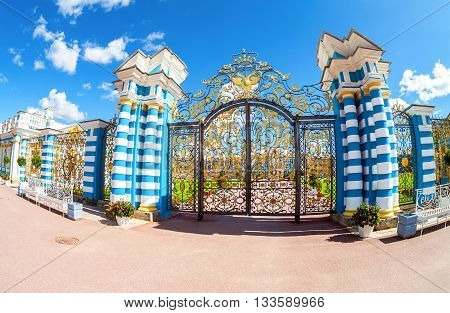 ST. PETERSBURG RUSSIA - AUGUST 4 2015: Openwork gate of Catherine Palace - the summer residence of the Russian tsars. Tsarskoye Selo Russia