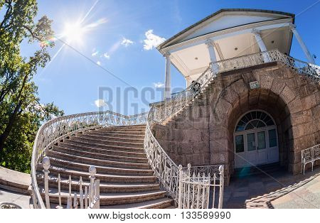 ST.PETERSBURG RUSSIA - AUGUST 4 2015: Stairs to the Cameron Gallery of the Catherine Palace at Tsarskoye Selo (Pushkin)