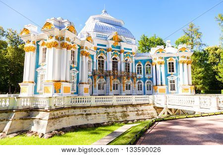 ST.PETERSBURG RUSSIA - AUGUST 4 2015: Hermitage Pavilion at the Catherine Park Tsarskoye Selo in summer sunny day