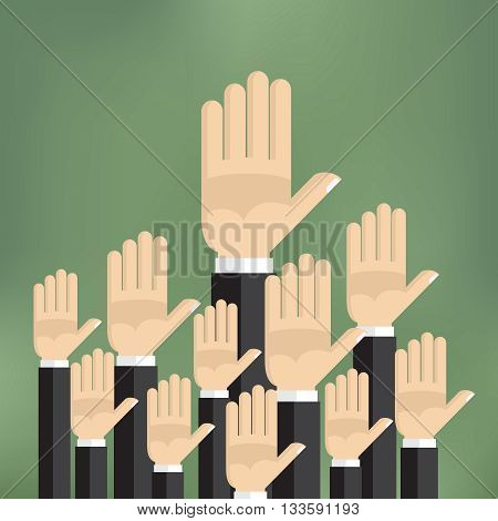 Raised hands on the green background in flat style.