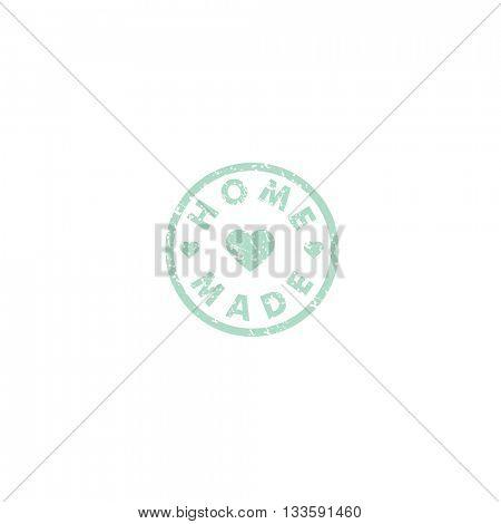 Homemade stamp on white background