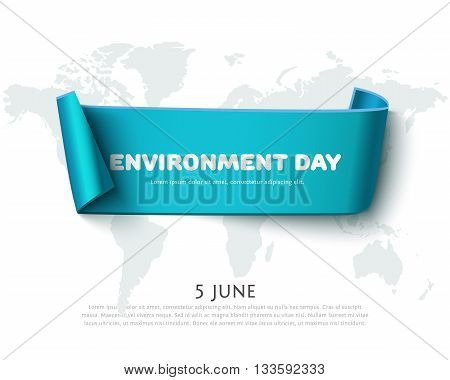 Blue paper ribbon banner for World Environment Day design with map icolated on white. Environment day concept, eco design