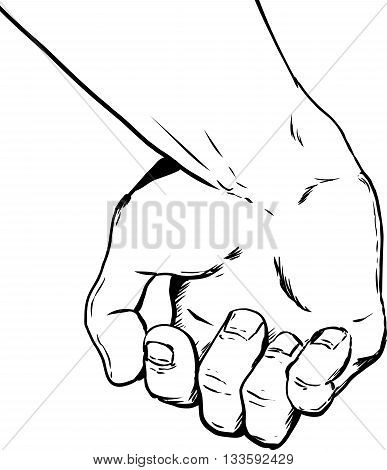Outlined Partially Clenched Human Hand