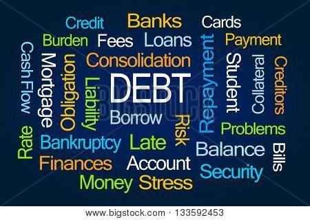 Debt Word Cloud on Blue Background