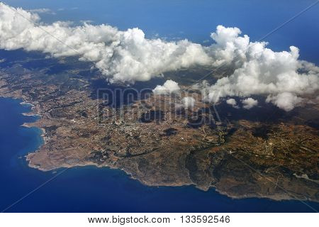 Aerial view of mountainssea and cloud. Cyprus