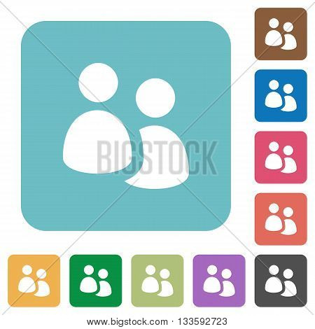 Flat user group icons on rounded square color backgrounds.