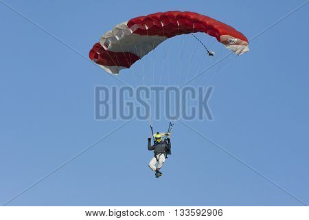 Bialystok Poland 4 June 2016 Paratrooper during a jump out of a plane