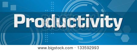 Productivity text written over blue abstract background.