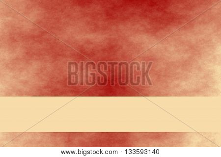 Red and vanilla colored smoky background with vanilla colored banner