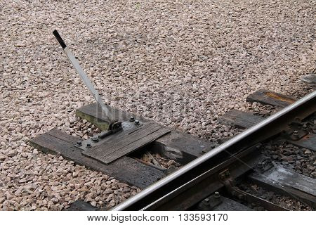 Railway Train Points Lever Attached to Wooden Sleepers.