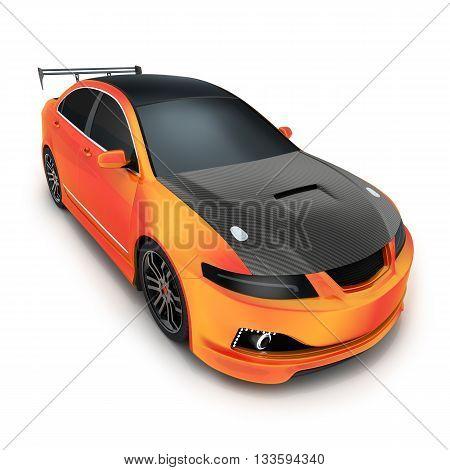 Sport car orange (done in 3d rendering)