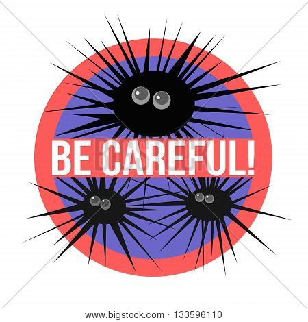 Concept of a beach sign warning about sea urchin in the water.