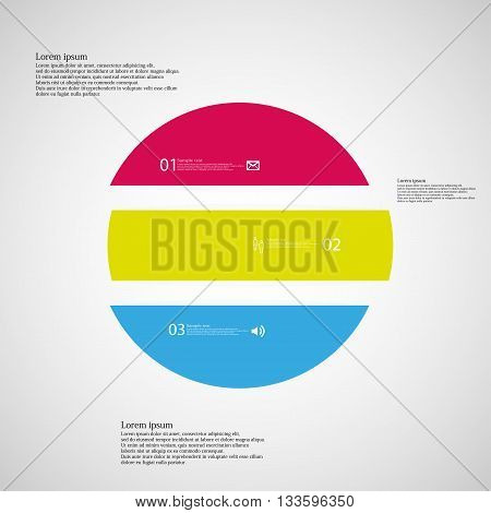 Illustration inforgraphic with shape of circle on light background. Circle with three colors. Template with round shape divided to three parts with text number and symbol. Each part shifted to each other.