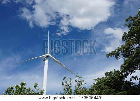 Horizontal-axis wind turbines that converts the wind's kinetic energy into electrical power with blue sky background