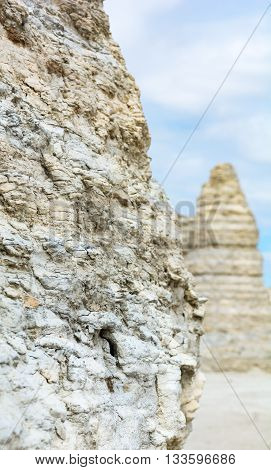 The factured nature of limestone can been seen in this closeup.