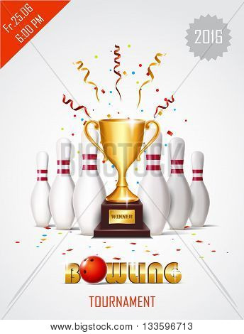Bowling tournament poster with ball, winner cup and bowling pins.