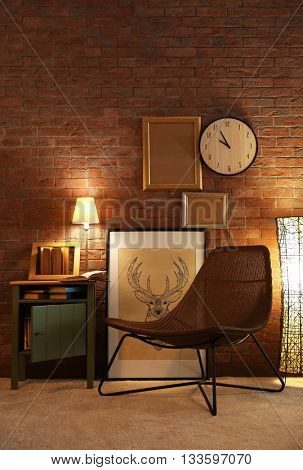 Comfortable chair in room design interior