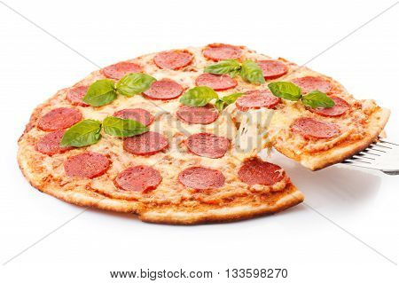 Tasty Pepperoni pizza with sausage from the top on white background