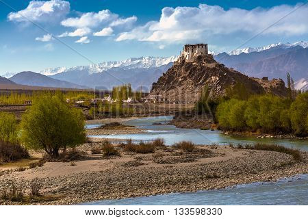Stakna monastery with view of Himalayan mountains in Leh-Ladakh Jammu and Kashmir India
