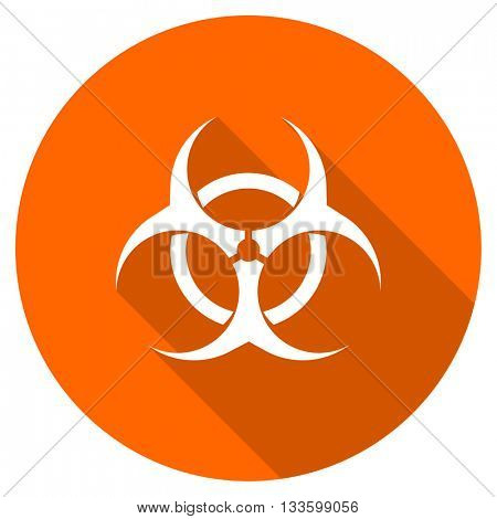biohazard vector icon, circle flat design internet button, web and mobile app illustration
