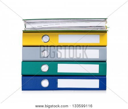 Colorful business file folders, isolated on white background