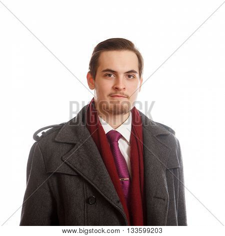 An young adult in a classy coat on white background