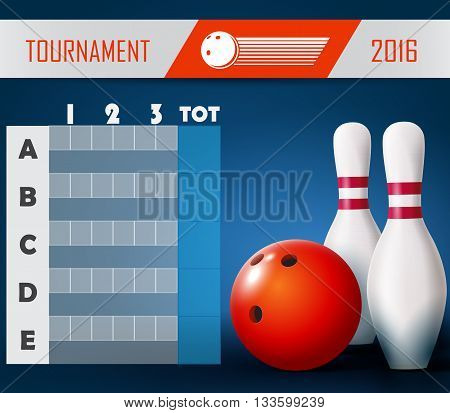 Bowling tournament poster with ball and bowling pins.