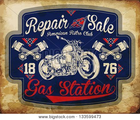 Vintage gasoline retro signs and labels. Gas station.