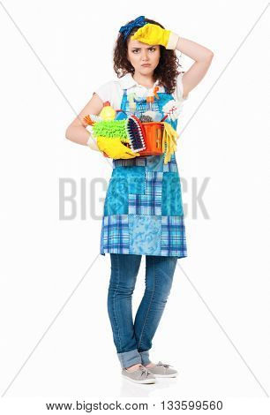 Tired young housewife with yellow gloves, isolated on white background