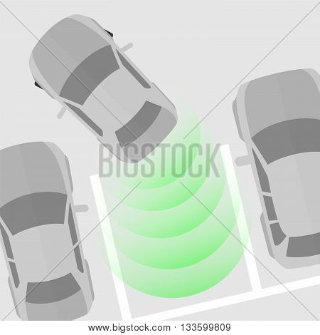 Parking Sensor. Vector Illustration Of A Car Parking With The Help Of A Parking Sensor