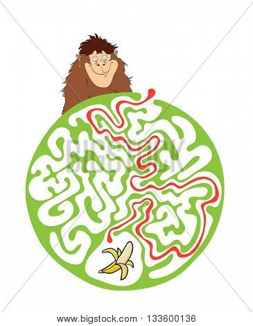 Maze puzzle for kids with monkey and banana. Labyrinth illustration, solution included.